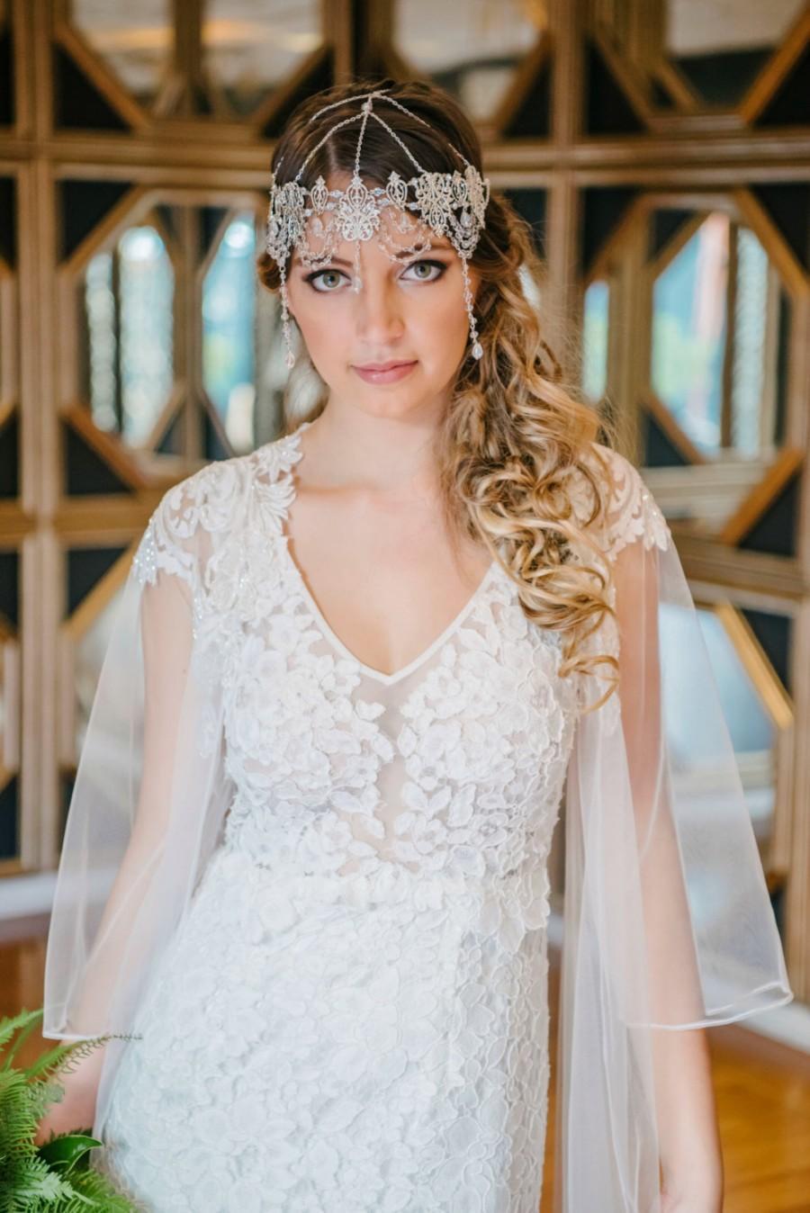 زفاف - Boho Bride Bohemian Wedding Headpiece Bridal Head Chain Weddings Bridal Headpiece Hair Jewelry Head Chain Head Jewelry Chain - Crystal Gypsy