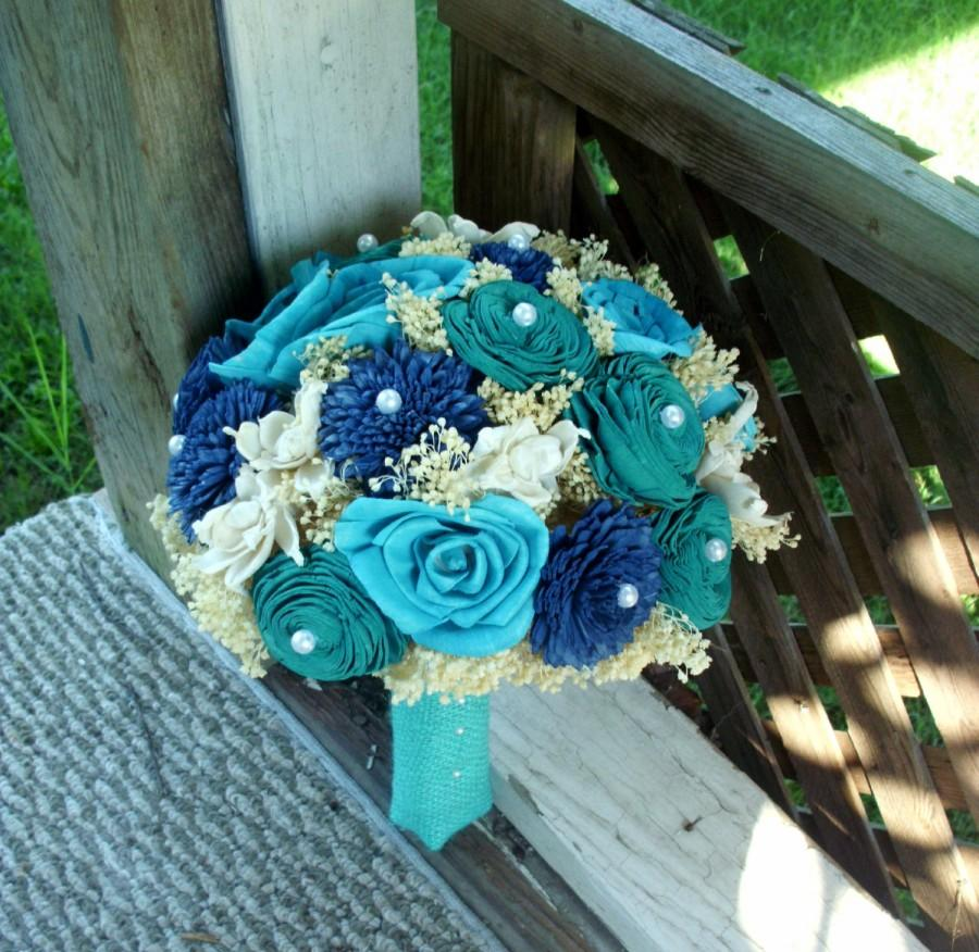 Wedding - Navy turquoise and teal bridal bouquet