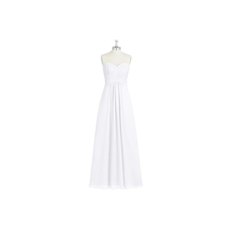 Wedding - White Azazie Maryjane - Chiffon And Lace Sweetheart Back Zip Floor Length Dress - Charming Bridesmaids Store