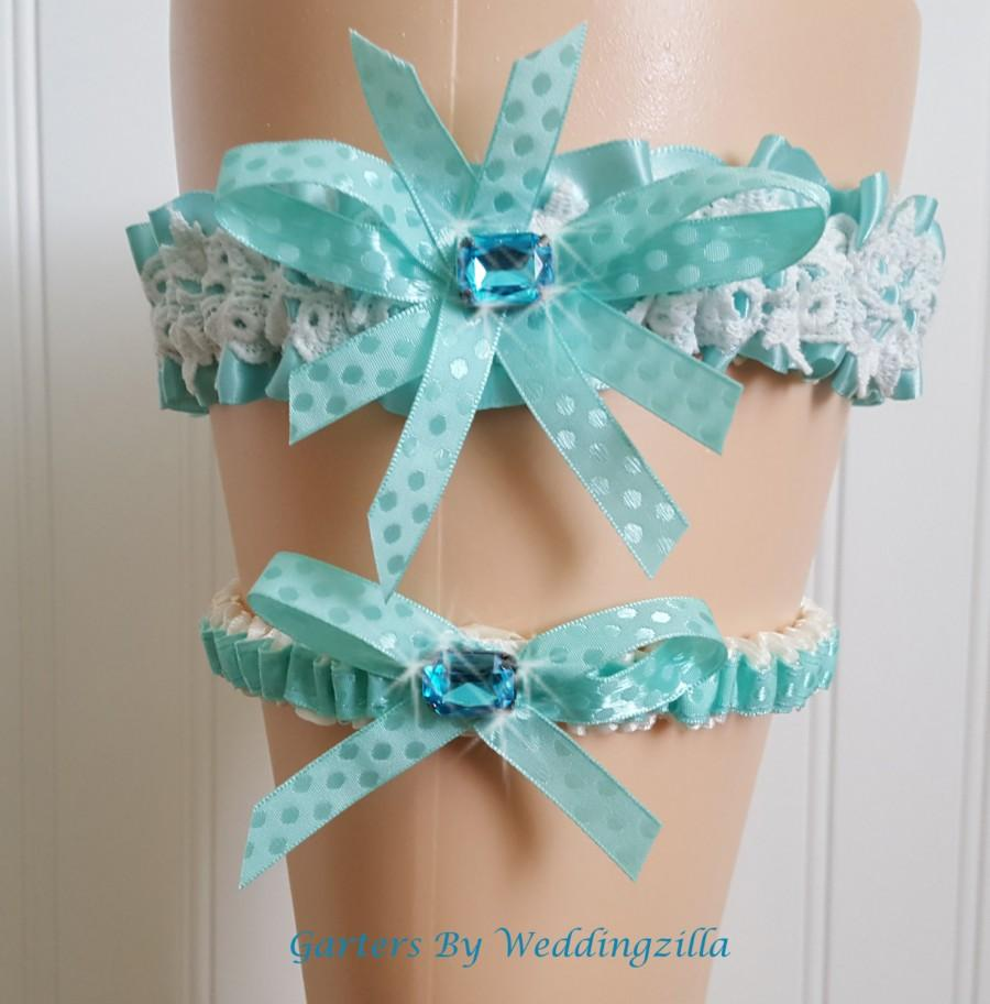 Mariage - Wedding Garter Set Aqua Blue,  White Venise Lace Aqua Satin Wedding Garter,  Bling Bridal Garter