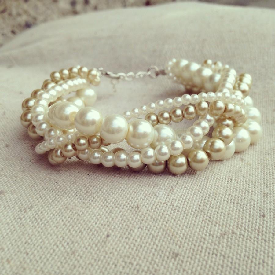 Wedding - Braided cuff, ivory pearl bracelet, bridesmaids bracelet, ivory bracelet, pearl bracelet, statement bracelet, elegant bracelet, ivory gold