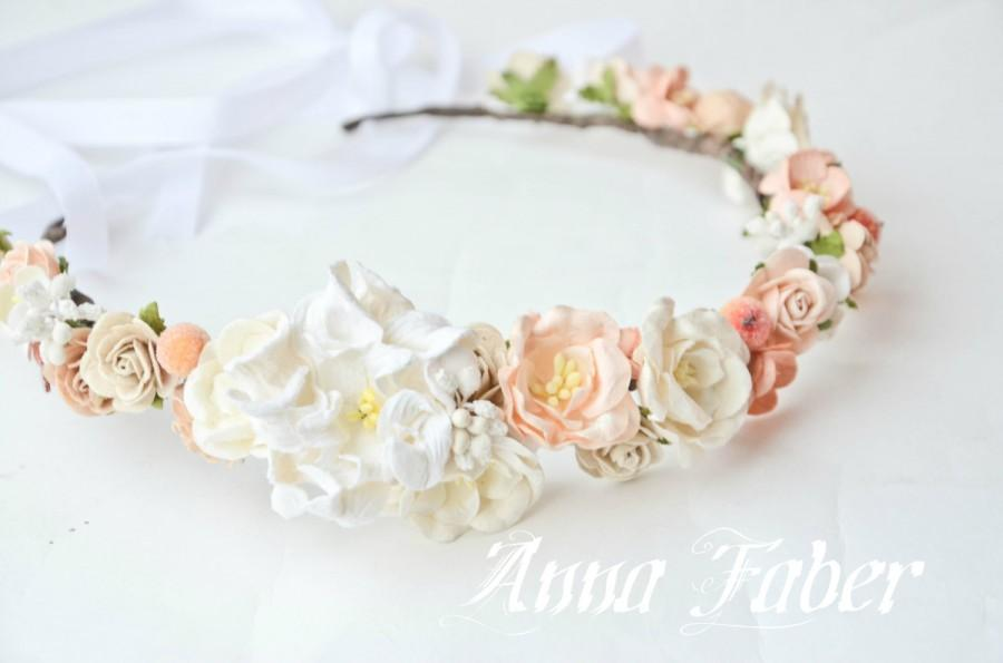 Wedding - Floral crown, Bridal crown, wedding flower crown, flower crown, wedding crown, floral head wreath,ivory floral crown