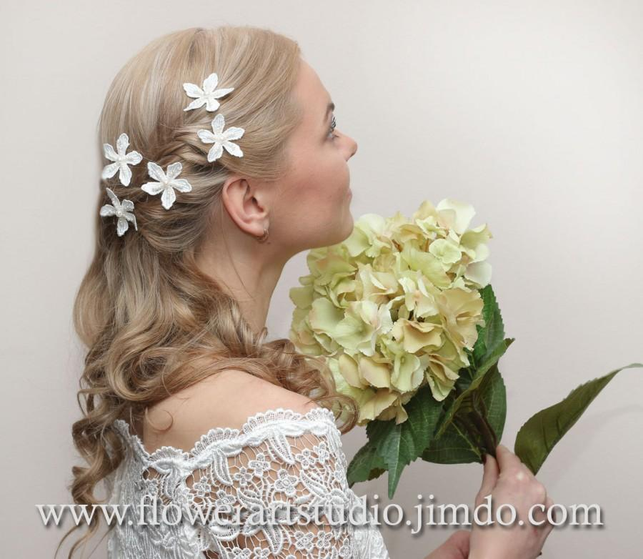 Ivory flower with rose gold leaf bridal hair clip