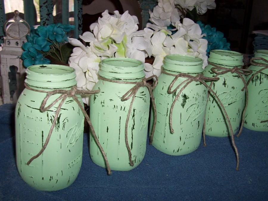 Mason Jar Vases Painted Mint Green Weddings Decorations Centerpieces