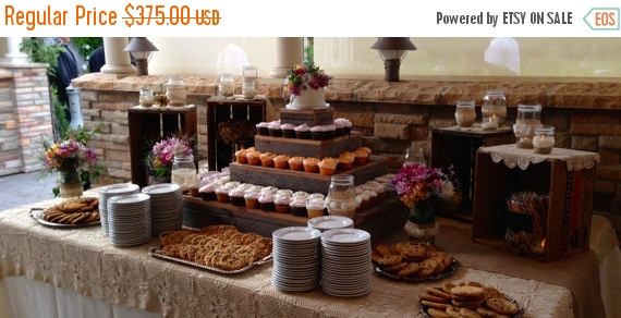 Mariage - PICK ME SALE 5 tier wedding reception decorations Cupcake Stand cake stand country wedding barn wood Stand rustic country reception decorati