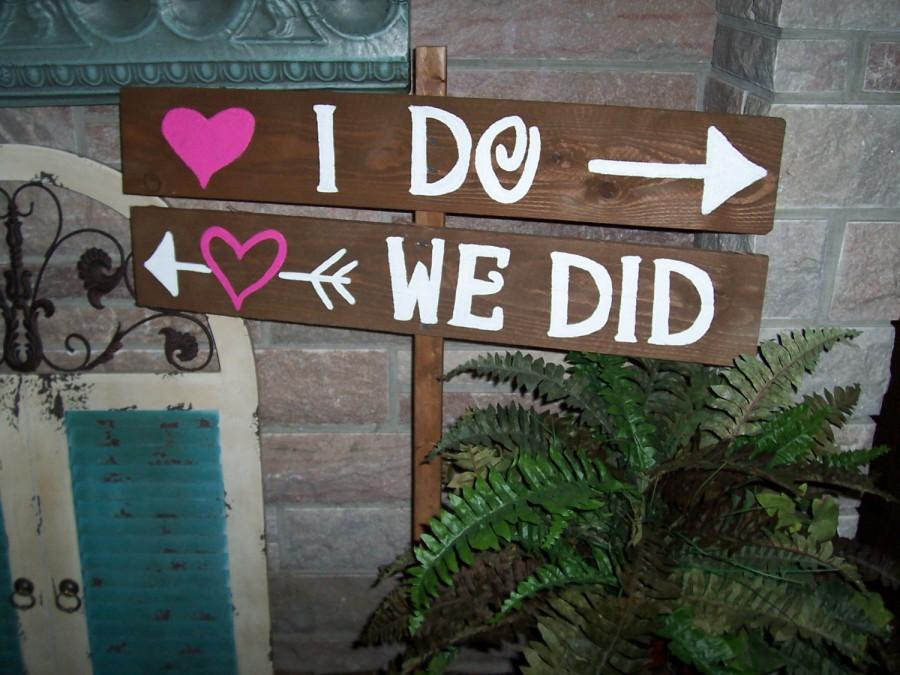 Свадьба - Wedding Sign I DO WE Did rustic Barn wood Party ceremony decorations reception Signage w/ Stakes country outdoor reclaimed