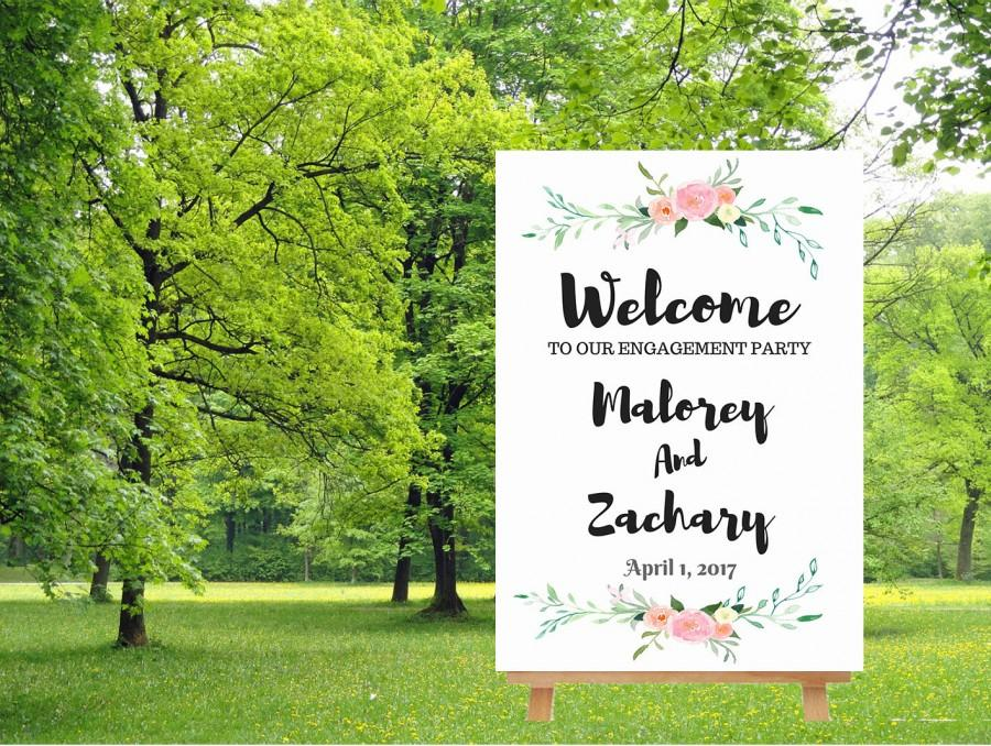 Свадьба - Engagement party sign, welcome to our wedding sign,  watercolor floral sign, engagement welcome sign, large wedding sign, digital download