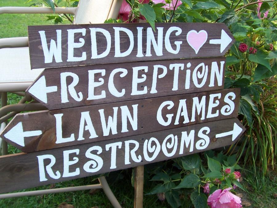 4 Rustic Wedding Signs, Wood Signs, Parking Sign , Custom