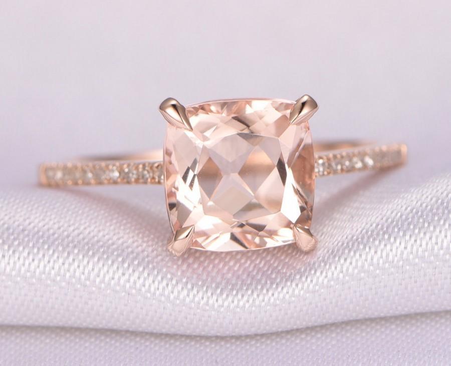 Свадьба - Morganite Engagement ring,14k Rose gold,8mm Cushion cut Pink Morganite,Promise,Bridal Ring,Diamond Wedding Band,Diamond Accent,Claw Prongs