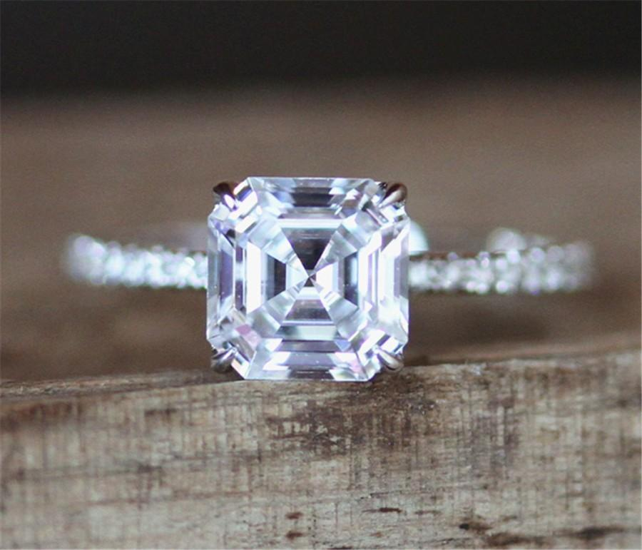 Forever One Moissanite Engagement Ring 6.5mm Asscher Cut ...