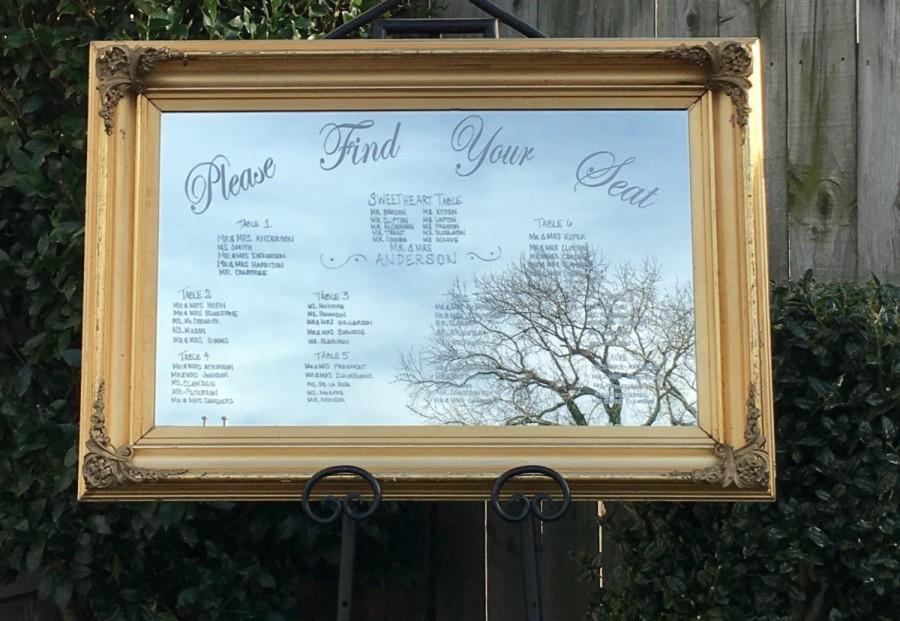 Wedding - Mirror Seating Chart,Wedding mirror seating chart,Wedding Sign,