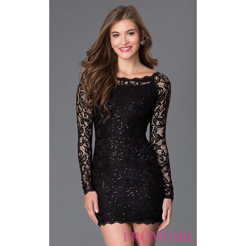 Short Long Sleeve Black Lace Sequin Hearts Homecoming Dress