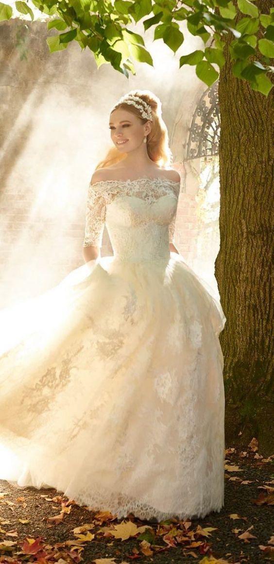 Свадьба - Off-The-Shoulder Lace Quarter Length Sleeve Ballgown Wedding Dress