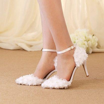 Hochzeit - 2017 Summer Shoes Woman Pointed Toe Ankle Strap White Chiffon Flower Pearls Beaded Sandals Bridal Wedding Shoes