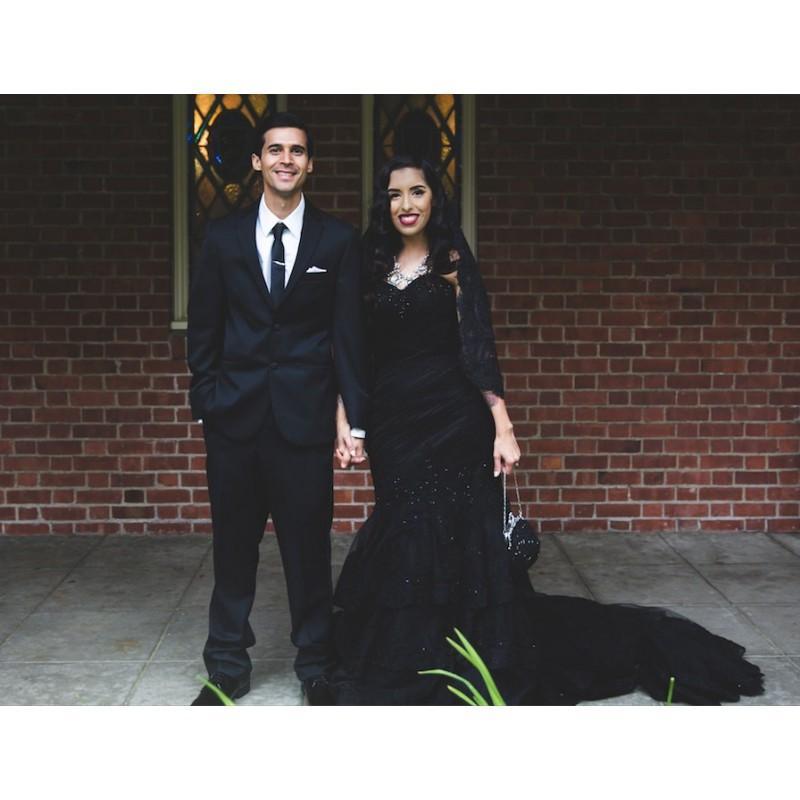 Hochzeit - Stunning Black Wedding Dress Custom Made in your Measurements - Hand-made Beautiful Dresses
