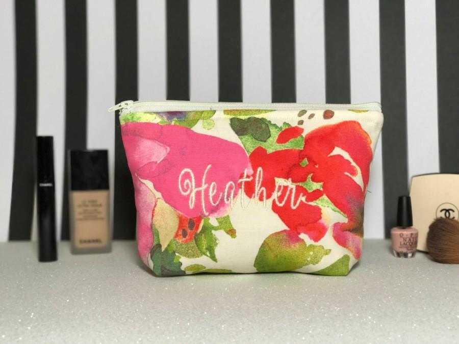 Monogram Personalized Makeup Bag Wedding Customized Cosmetic
