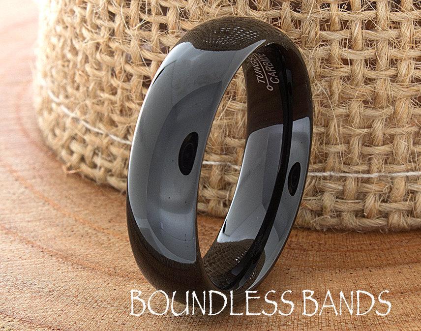 Mariage - Tungsten Wedding Band 6mm Black Wedding Band Mens Wedding Band Engraving Anniversary Brushed Polish Size Mens Ring Mans Rings Set His Hers
