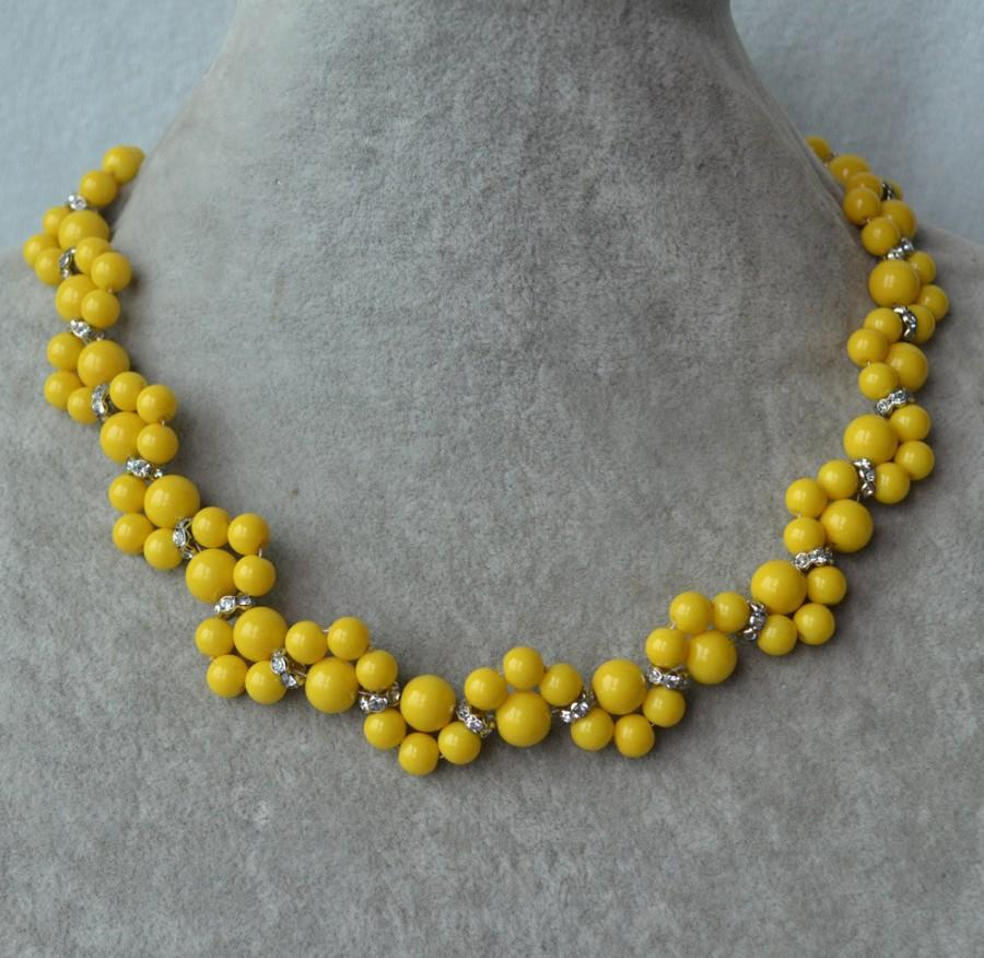 Yellow NecklaceGlass Pearl Necklaceyellow Pearl Flower Necklace