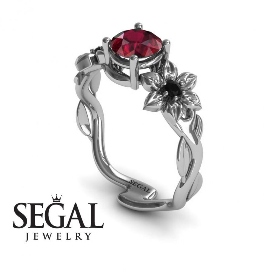Mariage - White Gold Engagement Ring Red Ruby Ring Nature Inspired Engagement Ring Flower Ring Art Deco Ring White Gold Engagement Ring - Julia