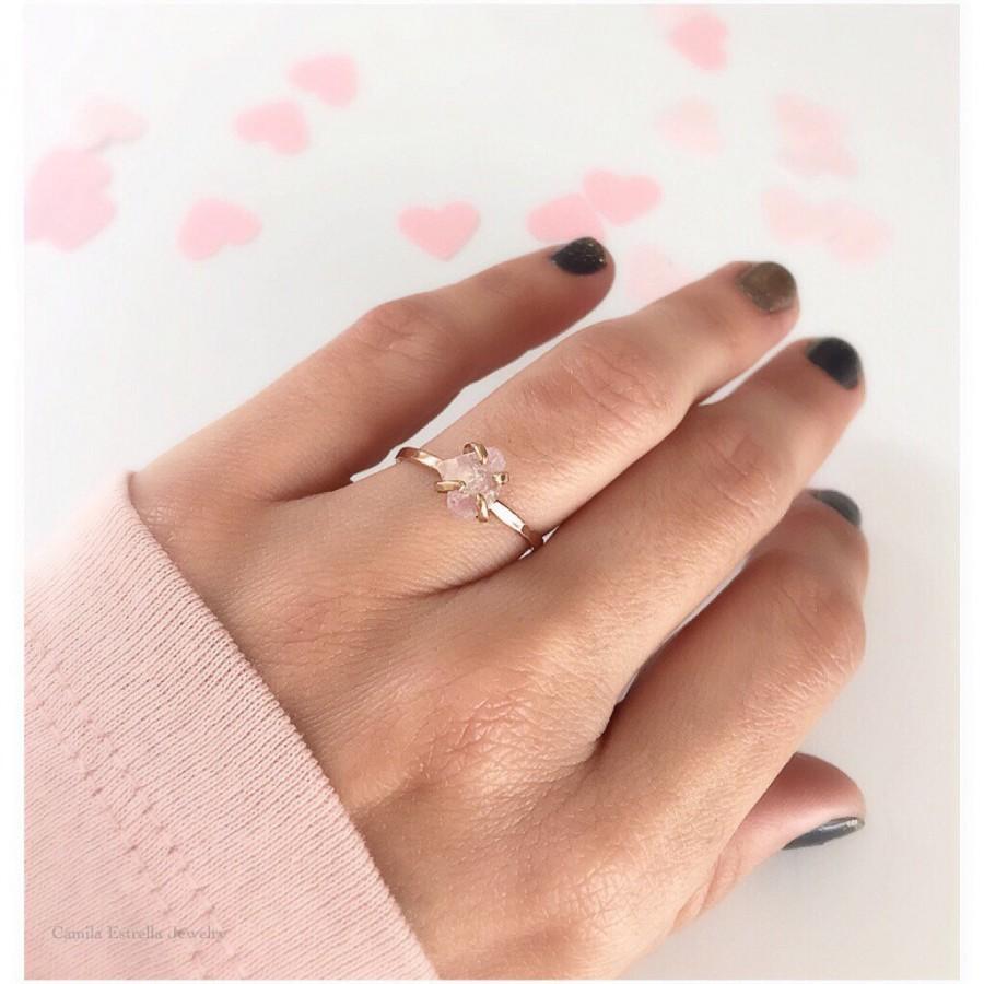 Rose Quartz Engagement Ring, Rose Quartz Ring, Rose Quartz Stone, Rose Gold  Ring, Gold Engagement Ring, Rose Quartz Jewelry, Engagement Ring