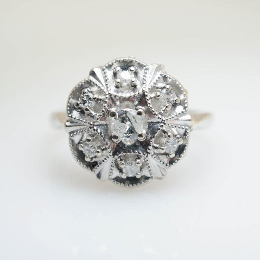 Wedding - Vintage Art Deco .25CT Natural Diamond Cluster Ring  14k White Gold Retro Jewelry Art Deco Cocktail Ring