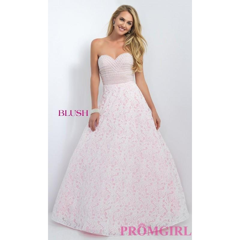 Свадьба - Long Lace Strapless Ball Gown Style Prom Dress by Blush - Discount Evening Dresses