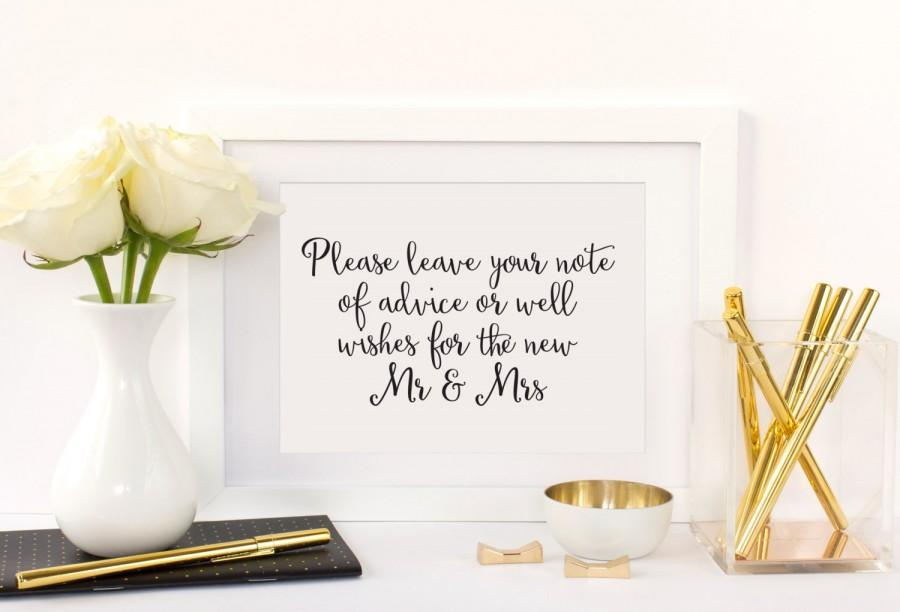 Advice And Well Wishes Table Sign, Advice For The Bride And Groom ...