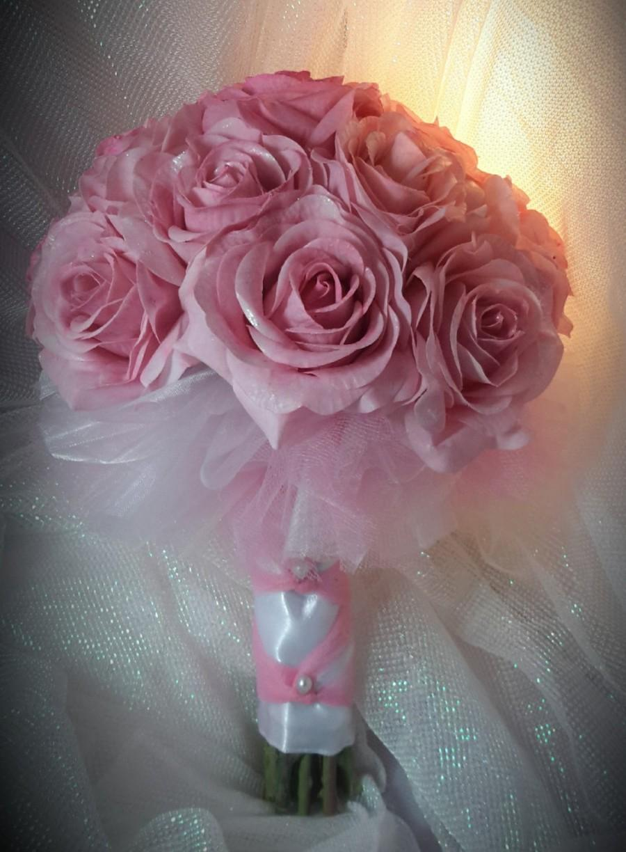 Pink Rose Bouquet, Communion Bouquet, Wedding Bouquet Pink And White ...
