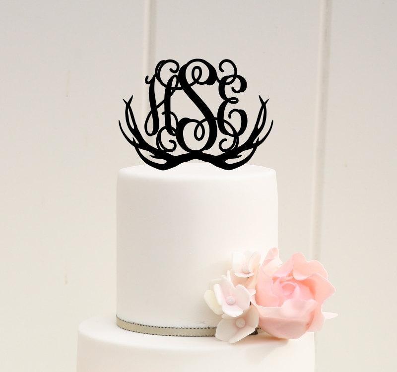 Mariage - Vine Monogram Deer Antlers Wedding Cake Topper - Custom Cake Topper