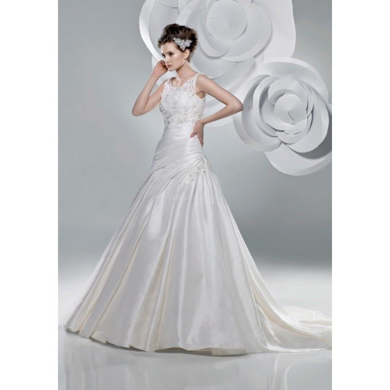 Wedding - Classic A line Jewel Lace & Ravello Taffeta Sleeveless Floor Length Wedding Gown - Compelling Wedding Dresses