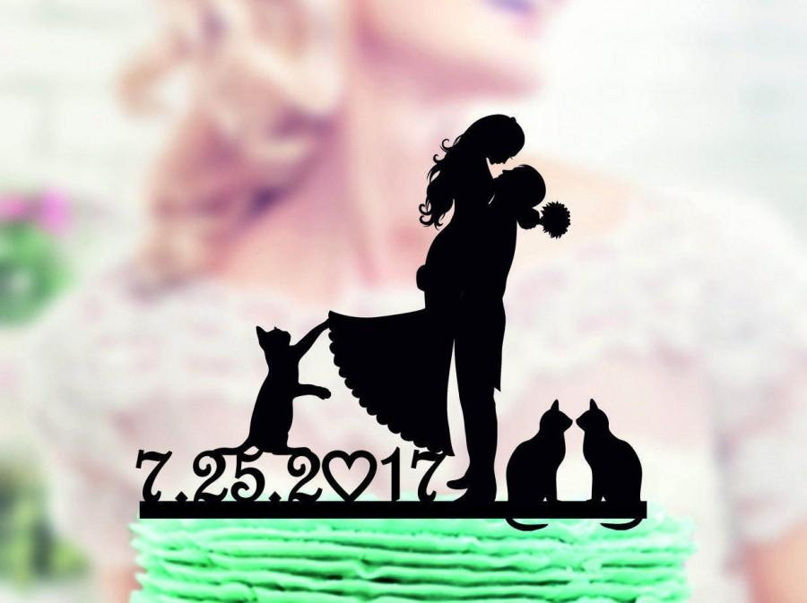 Mariage - Wedding cake topper with cat, mr and mrs with cat , bride and groom +  our pets cake topper ,  Our pets , wedding cake topper figurine