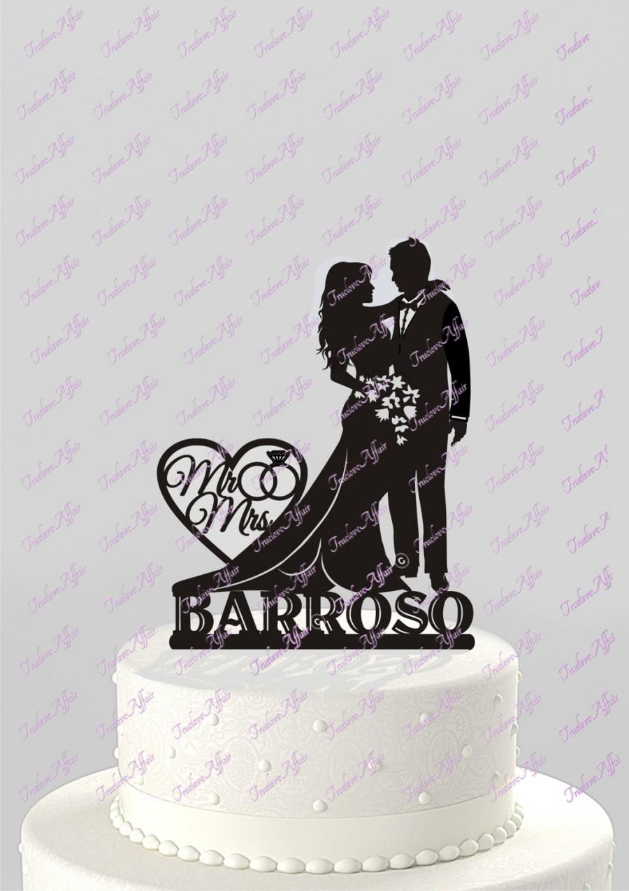 Hochzeit - Wedding Cake Topper Silhouette Bride and Groom with Last Name Acrylic Cake Topper [CT66n]