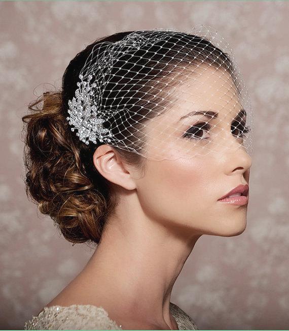 Wedding - Birdcage Veil, Bridal Veil and Bridal Comb, Bandeau Birdcage Veil, Blusher Bird Cage Veil - QUICK SHIPPER - Detachable Rhinestone Hair Comb