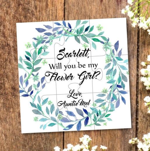 زفاف - Flower girl proposal, flower girl puzzle, will you be my flower girl, Ask flower girl, Will you be my bridesmaid puzzle, Bridesmaid gift