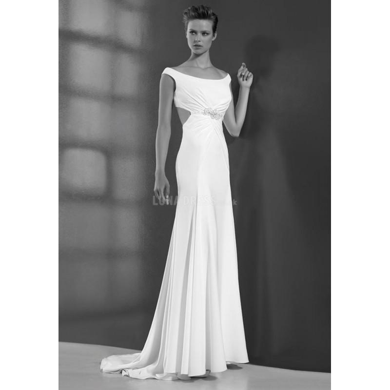 Wedding - Sexy Fit N Flare Off the Shoulder Chiffon Floor Length Bridal Gown With Beading - Compelling Wedding Dresses