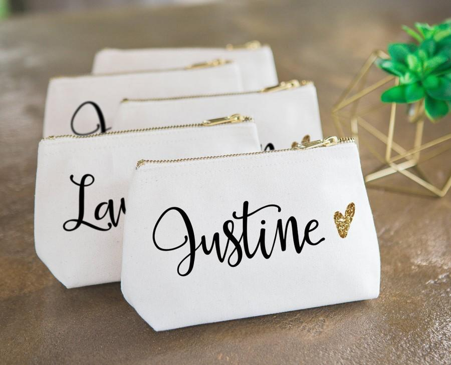Personalized Makeup Bag Gift For Bridesmaids Canvas Pouch Wname