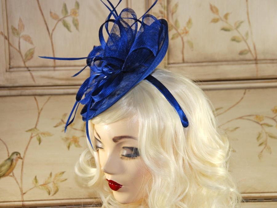 Hochzeit - Royal Blue Fascinator Hat - Kentucky Derby Hat - Wedding Fascinator Hat - British Style Hat - Tea Party Hat - Kate Middleton Fascinate Hat