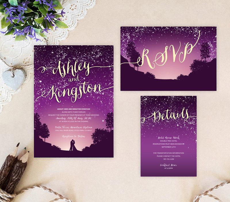 Свадьба - Purple starry night wedding invitation bundle