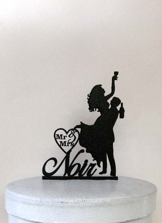 Boda - Personalized Wedding Cake Topper - Drunk Bride! 2 with Mr & Mrs your last name