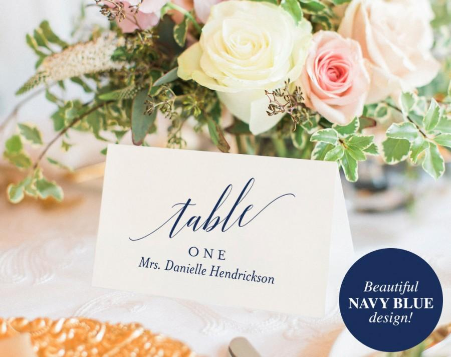 Mariage - Wedding Place Cards, Wedding Place Card Printable, Place Card Template, Wedding Printable, Navy Blue, Blue, PDF Instant Download #BPB320_6