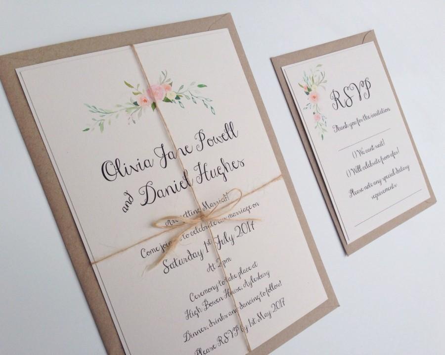 Mariage - Rustic Floral Wedding Invitation. Boho flowers wedding invitation set