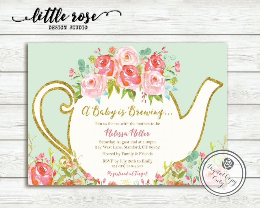a baby is brewing baby shower tea party invitation garden tea