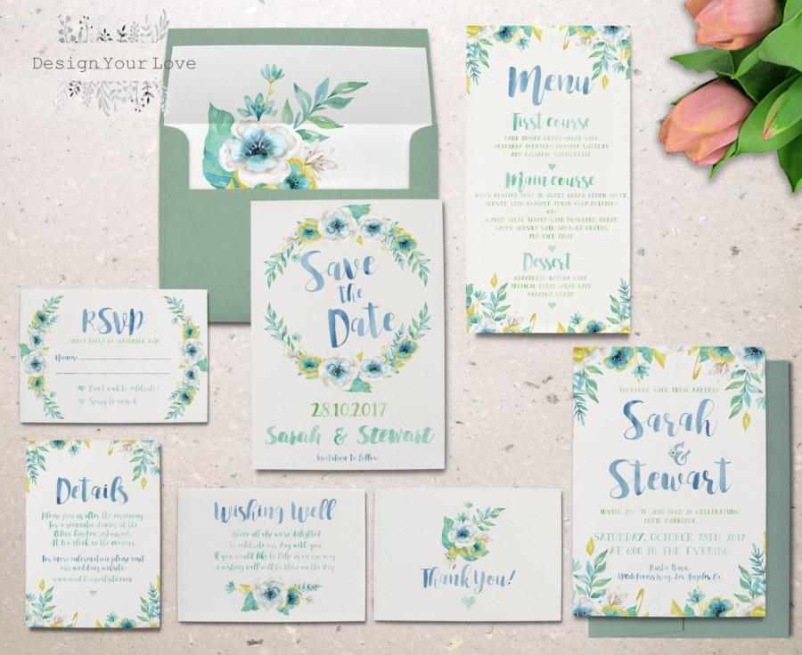 Mariage - printable watercolor wedding invitation set garden floral wedding invitation printable floral invitation suite watercolour wedding invite