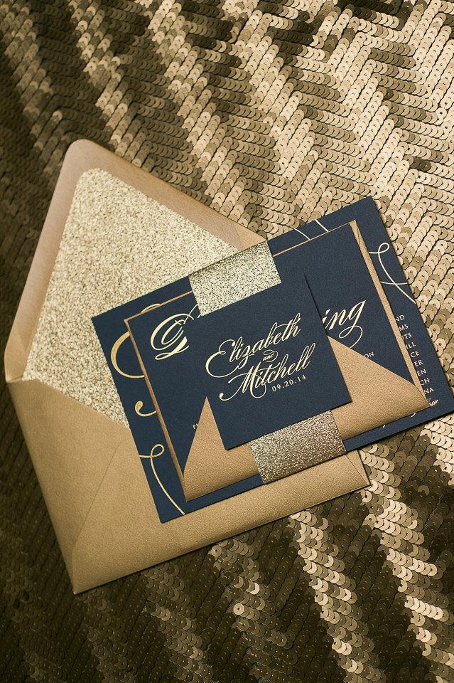 Mariage - Foil  - Navy and Gold Glitter Calligraphy Wedding Invitations - SAMPLE (Lauren)