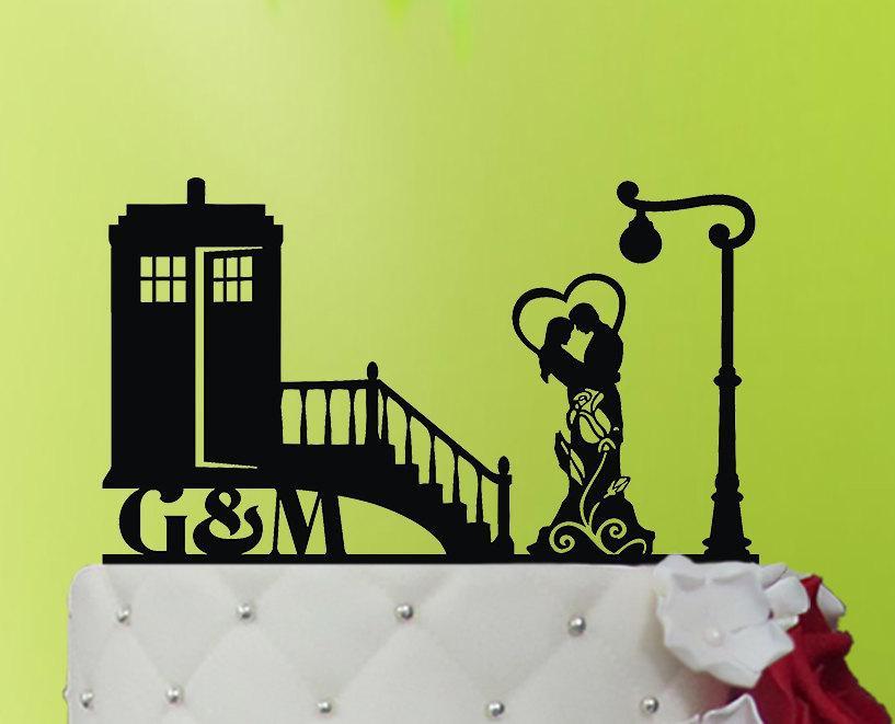Свадьба - Wedding Cake Topper TARDIS - TARDIS  cake topper  - Doctor Who Wedding - Doctor Who Cake Topper