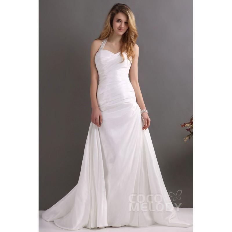 Düğün - Queenly Sheath-Column Halter Court Train Taffeta Wedding Dress CWST13004 - Top Designer Wedding Online-Shop
