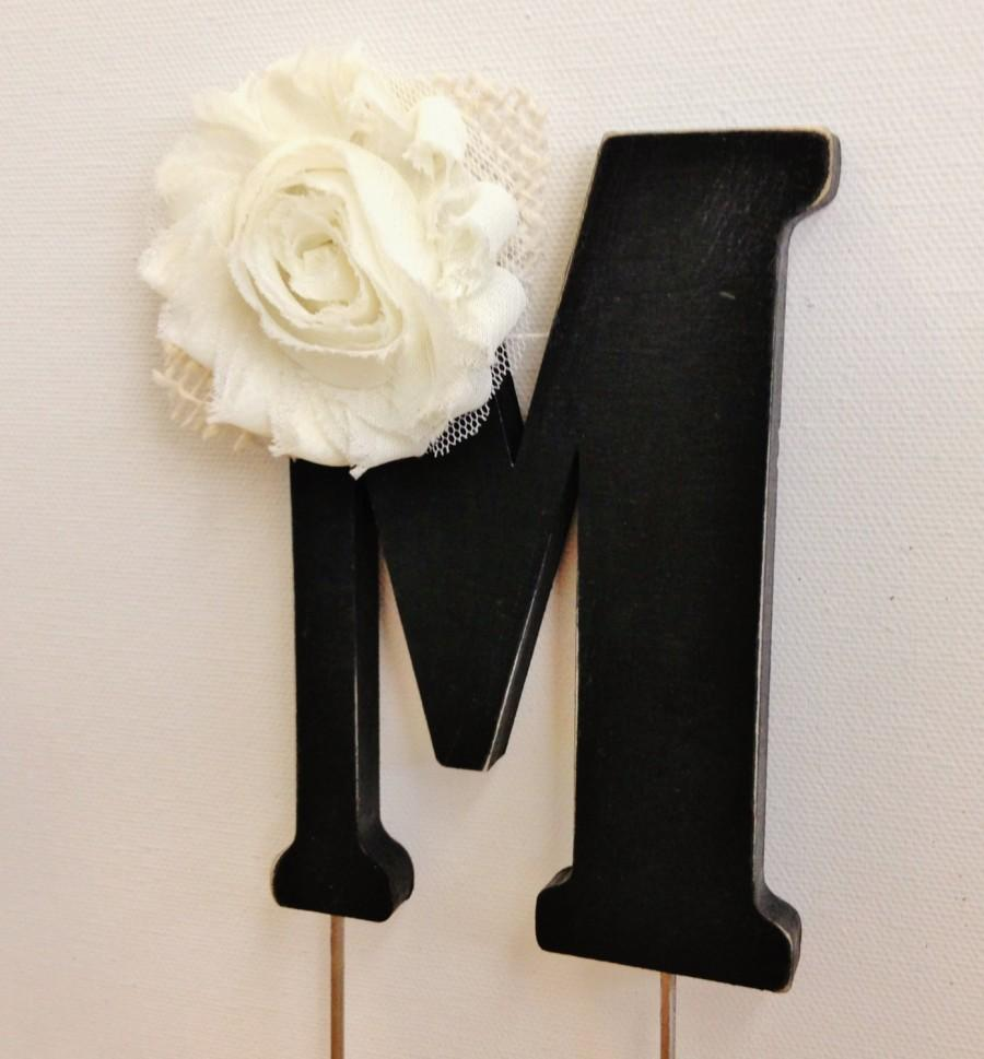 Mariage - Distressed Rustic Cake Topper with Burlap and Frayed Flower