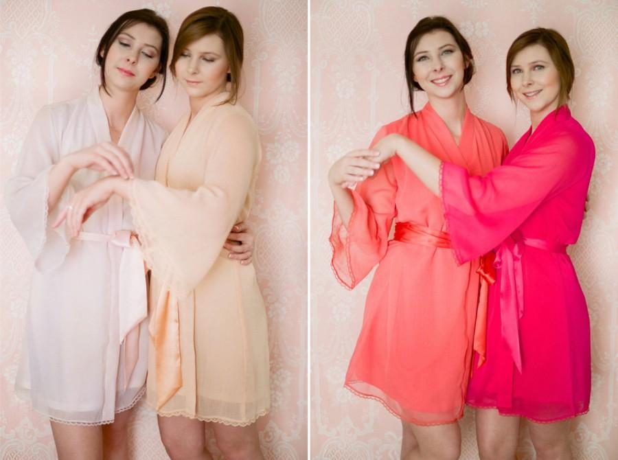 Mariage - One custom lace trimmed lined chiffon robe. Lace bridesmaids robes Lace bridal robe. Pastel lace robe. Bridal lace robe. Long bridal robe