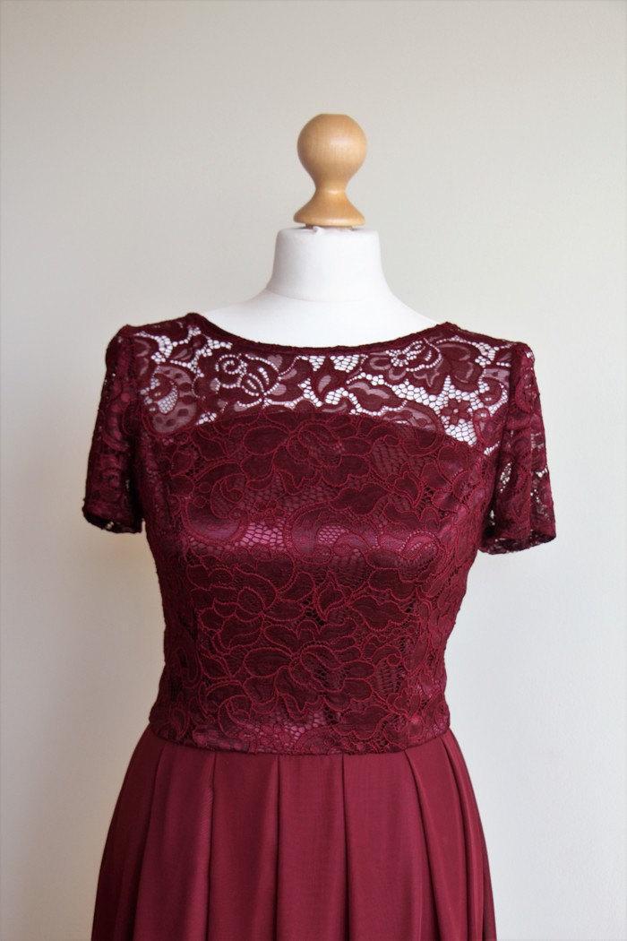 Свадьба - Long Bridesmaid Dress with Lace Bodice Burgundy lace dress Marsala long dress Long burgundy lace dress Long bridesmaid dress Prom dress