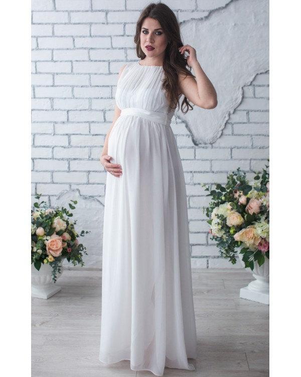 White Chiffon Dress Long Pleated Prom Dress Pregnant.Pleated ...